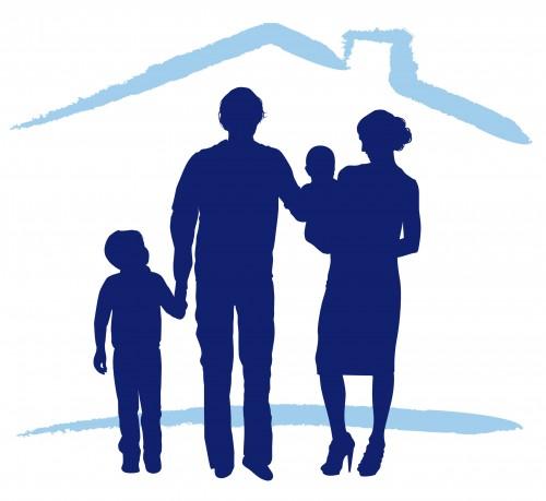 Famiglia blu con casa celeste stilizzata